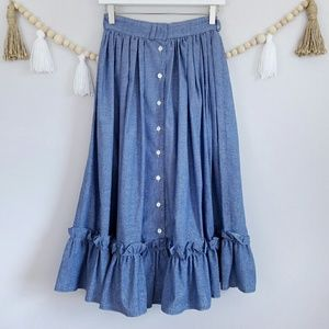 Vintage Handmade Blue Chambray Prarie Skirt EUC 4